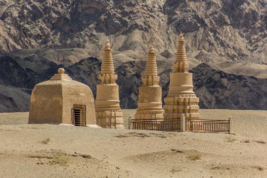 Buddhist pagodas at Mogao Grottoes near Dunhuang, Gansu Province, China