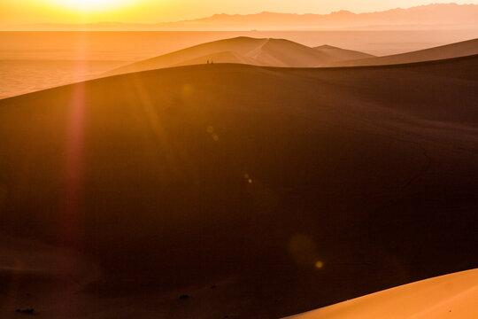 Sunrise at Singing Sands Dune near Dunhuang, Gansu Province, China