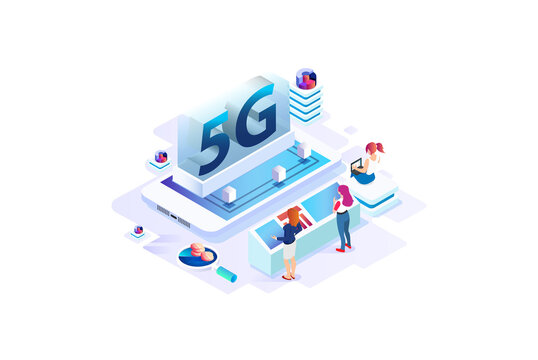 Modern isometric 5g Internet speed technology. online based vector illustration Suitable for Diagrams, Infographics, Game Asset, And Other Graphic Related Assets