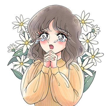 少女漫画風・感動して泣く美女・昭和風・70年代風・背景花