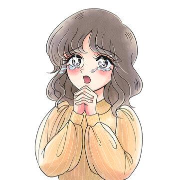 少女漫画風・感動して泣く美女・昭和風・70年代風