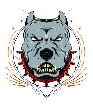 American Staffordshire Terrier. Pitbull head mascot design.