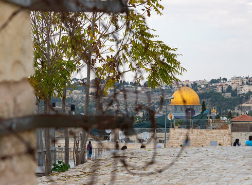 View of the  Dome of the Rock mosque from the roof of a residential building in the old city of Jerusalem, in Israel