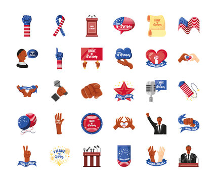 Martin Luther King Day, american national celebration movement icons set