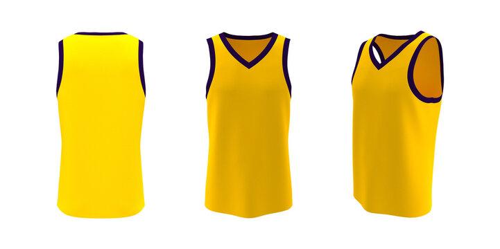 Blank v-neck sleeveless shirt mockup in front, side and back views, design presentation for print, 3d illustration, 3d rendering