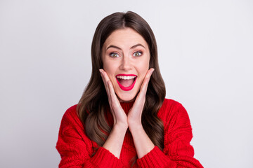 Photo portrait of happy surprised pretty girl touching cheeks with both hands isolated on pastel grey color background