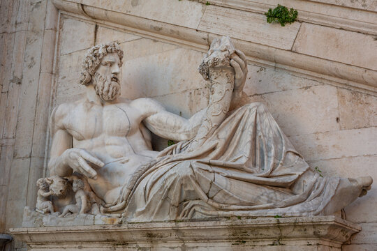 Rome, Italy - January 11, 2019: Scruptures of  the square at the Capitolium in Rome, Italy