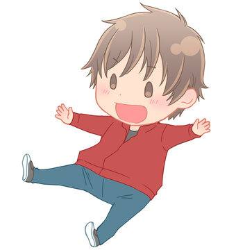 笑顔でジャンプする男の子(主線色付き)