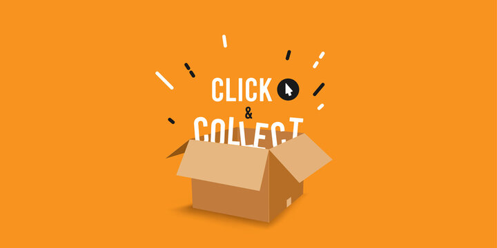 Click & collect vector illustration