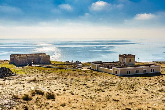Shoreline with Old guards castle, Almeria Spain