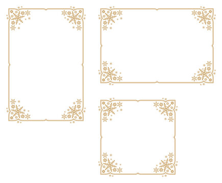 Decorative frame with snowflake theme.Decorative frame with winter theme.A frame that gave a change in size to the same design.Good frame for a4 size paper.Certificate frame.