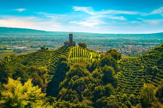 Prosecco Hills, vineyards and San Lorenzo church. Unesco Site. Veneto, Italy