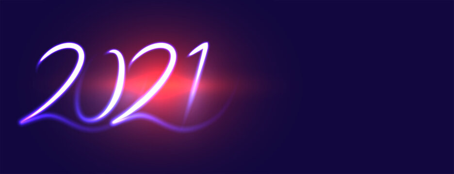 Creative new year 2021 on blue flare