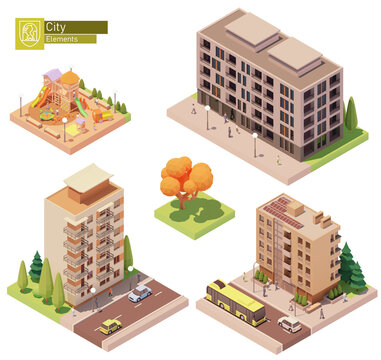 Vector isometric buildings and children playground. Houses, homes and offices. High-rise buildings, trees, cars and people. Colorful wooden outdoor playground. Isometric city map construction elements