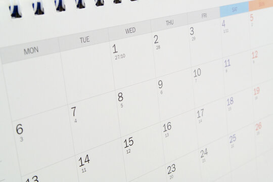 Calendar page background, Time and planning concept.