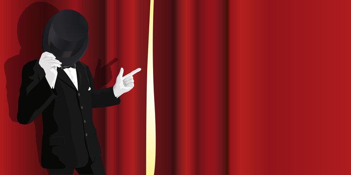 Un homme en costume présente un spectacle, en pointant du doigt l'ouverture d'un rideau de scène rouge.