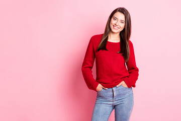 Photo of young charming girl hands pockets toothy shiny smiling wear red pullover jeans isolated pink color background