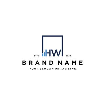 letter HW square logo finance design vector
