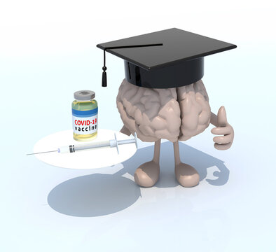 human brain cartoon with a graduate hat, covid vaccine