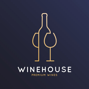 Wine logo with wine bottle and wineglass