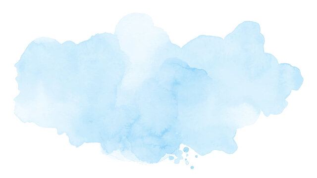 Abstract soft blue of stain splashing watercolor on white background