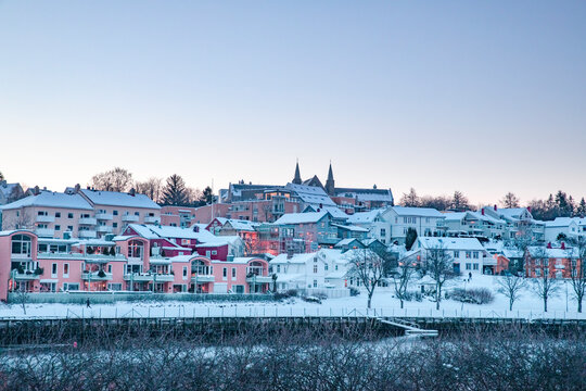 Street walking on a winter day in Trondheim - Norway