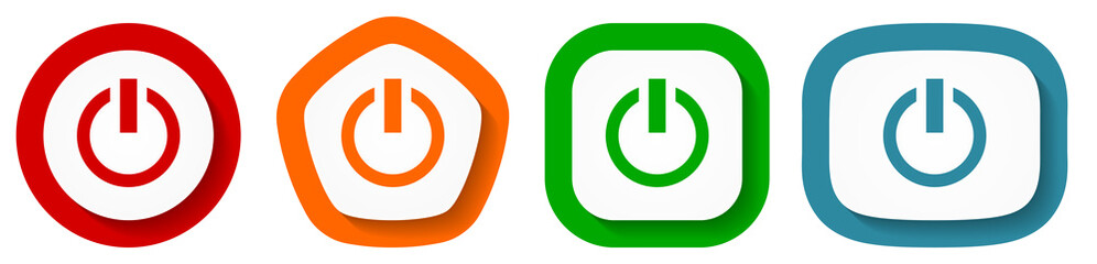 Fotomurales - Set of flat design vector power buttons, switch symbol illustration in eps 10