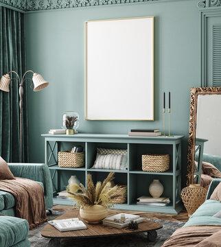 Mockup poster frame in bohemian home interior background, 3d render