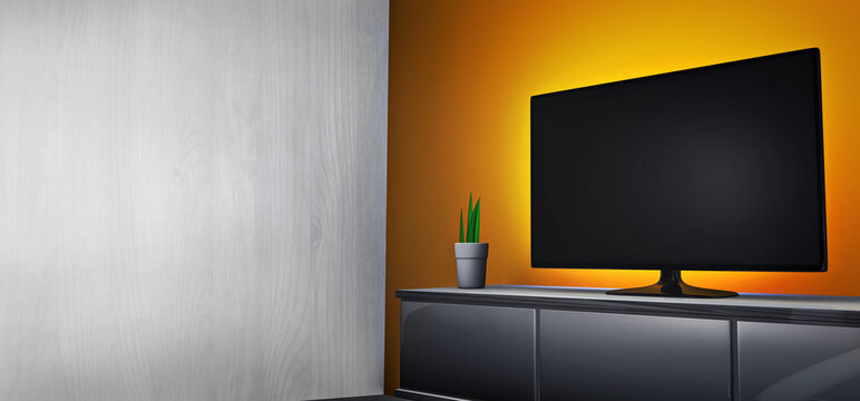 Living room with a Smart TV on a cabinet in front of a stylish highlighted orange wall of a home cinema. A 3D rendering With copy space to promote a poster or a painting