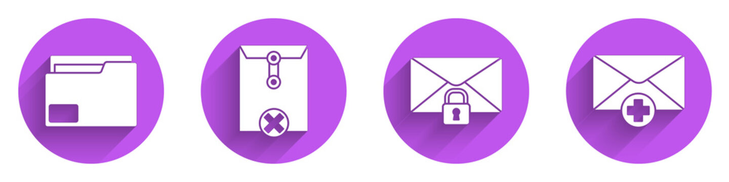 Set Document folder, Delete envelope, Mail message lock password and Received message concept icon with long shadow. Vector.