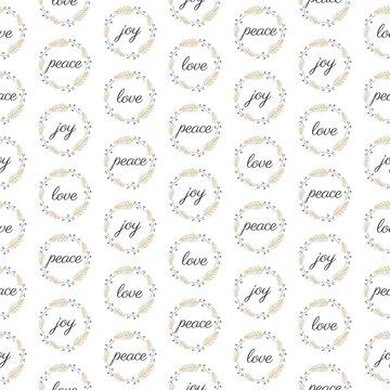 Love peace joy calligraphy inscription. Seamless vector illustration.