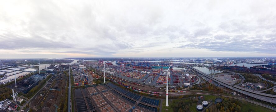 Drone aerial panorama of Hamburgs Port