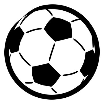 Icon of a soccer ball / black and white, vector, isolated