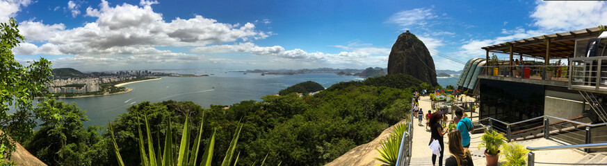 Breathtaking panoramic outlook view over Rio de Janeiro with skyline, mountains and beaches landscape from Sugarloaf Mountain summit observation on sunny summer day in Brasil Wall mural