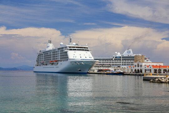 Heavy traffic of cruise ships at Rhodes harbor - Regent Seven Seas Cruises