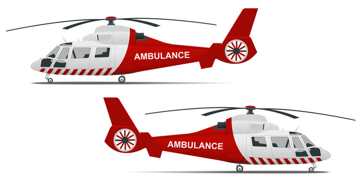 Rescue helicopter side view on a isolated white background. Red medical evacuation helicopter. Ambulance helicopter. Healthcare, hospital and medical diagnostics.