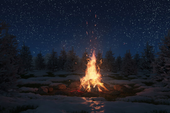 3d rendering of bonfire on melting snow with sparks and particles in front of pine trees and starry sky