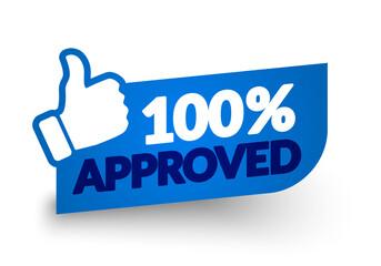 Fototapeta Vector Illustration 100 Percent Approved Label