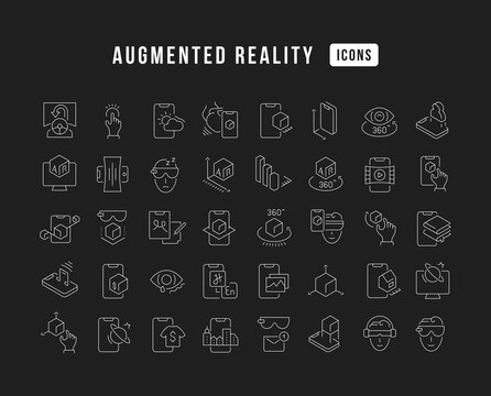 Set of linear icons of Augmented Reality