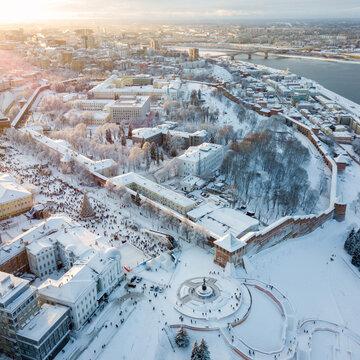 View of the Nizhny Novgorod Kremlin and Chkalov stairs in winter
