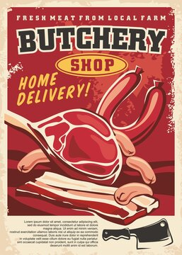 Fresh organic meat from local farm artistic poster template. Retro sign for butchery shop with steak loin, sausages, bacon, cleaver and salami. Vector food image.
