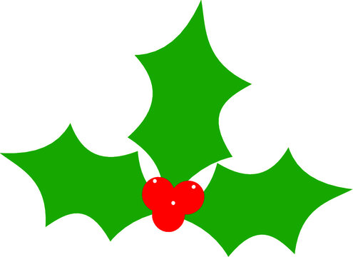 Vector Green Christmas Holly Leaf Plant Red Berry Clip Art