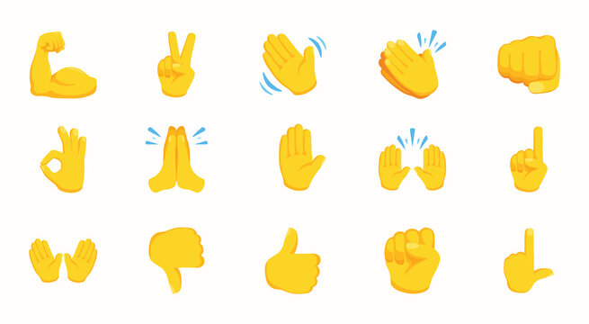 Hand Emojis Gestures Vector Icons Set. Gesture emoticon icon set. Biceps, fist, victory hand, folded hands in one vector collection