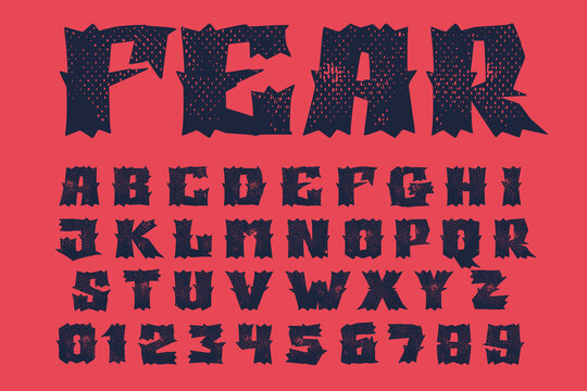 Alphabet and numbers set in horror style with grunge texture.
