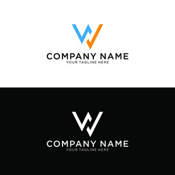 Creative and Minimal style blue and orange based on the NW and WN logos.