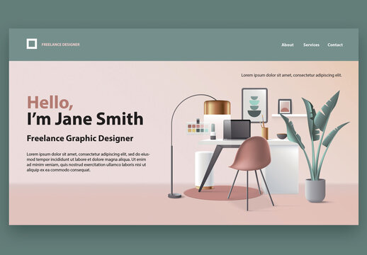 Freelance Graphic Designer Website Landing Page Template