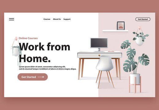 Website Header with Home Office Setting