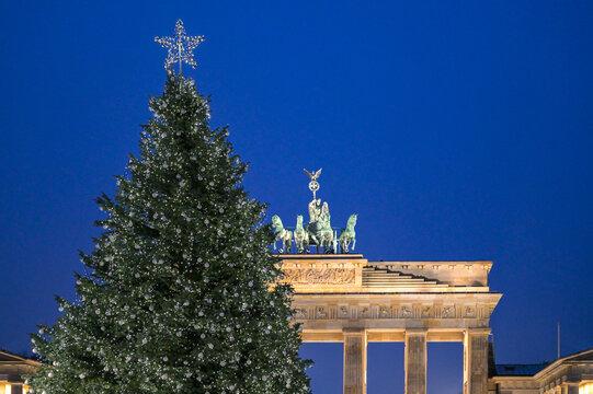 Geschmückter und beleuchteter Weihnachtsbaum auf dem Pariser Platz vor dem Brandenburger Tor in Berlin