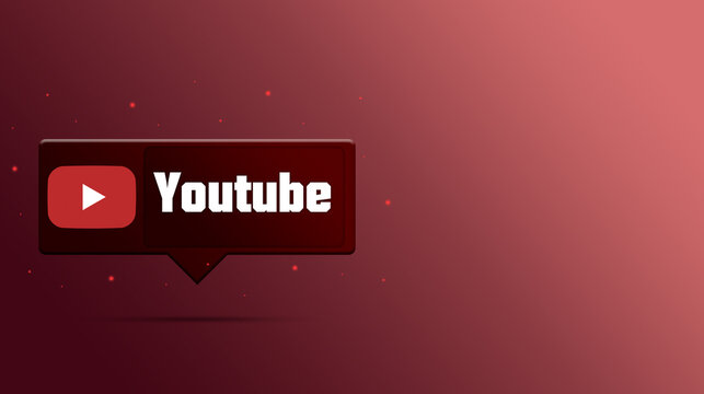 Youtube logo with the title on speech bubble icon 3d rendering background