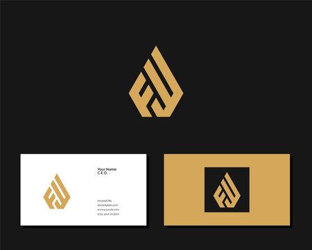 Letter F W logo design. creative minimal monochrome monogram symbol. Universal elegant vector emblem. Premium business logotype. Graphic alphabet symbol for corporate identity